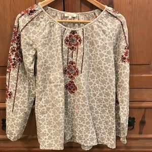 Sundance Floral Embroidered Long Sleeve Top - New